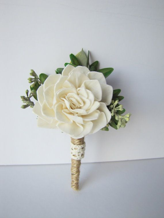 Jute and Lace Boutonniere - Dahlia and Jute boutonniere - Wood sola ...
