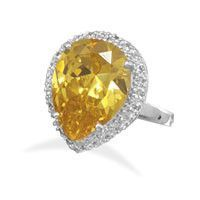 Silver Plated Brass Pear Shape Yellow and Clear Cubic Zirconia Fashion Ring