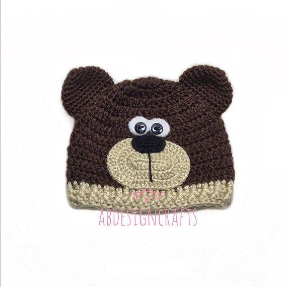 075e4a26d Crochet bear hat teddy brown Baby outfit Teddy bear set Newborn ...