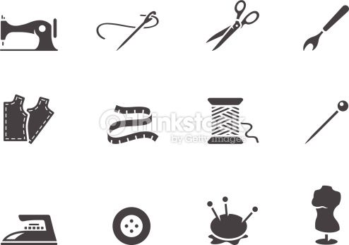 Sewing icons in black & white. EPS 10. AI, PDF