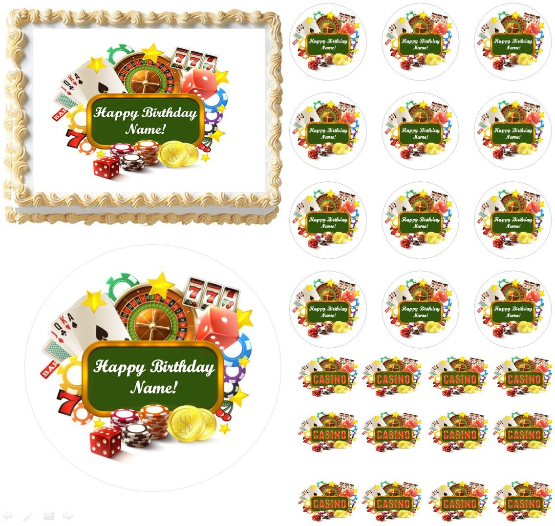 Casino gambling edible cake topper image frosting sheet