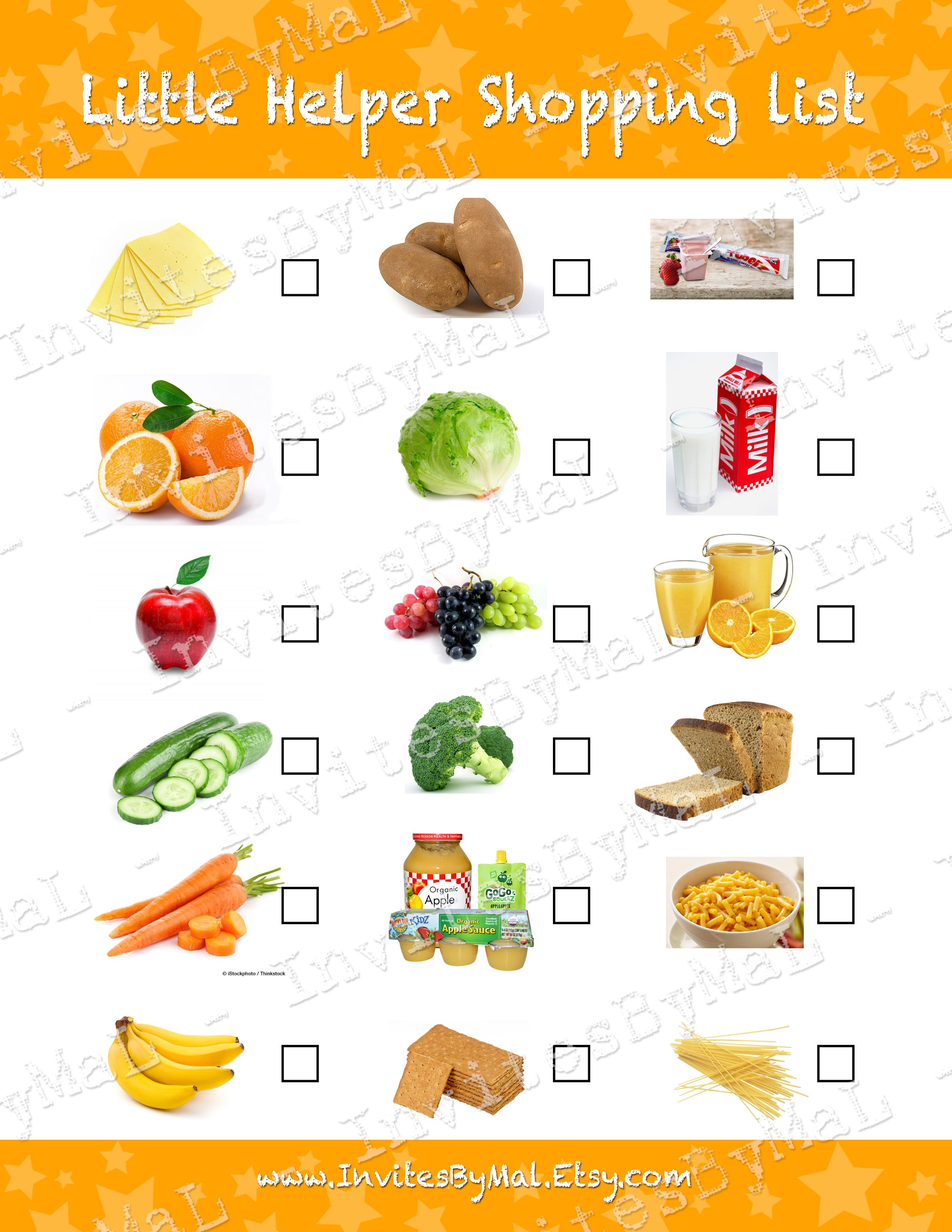 Freebie From Invites By Mal Printable Child Grocery Shopping List Teach Them Healthy Food