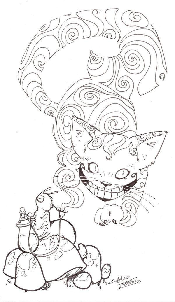 Sketchy Cheshire Cat Steampunk Coloring Animal Coloring Pages Cat Coloring Page