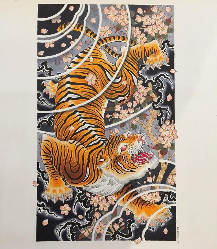 "Oliver James. on Instagram: ""Le tigra done on A2 in copics. #copic #copicmarkers #tattooflash #inkedmag #prints #japanese #japanesetattoo #irezumi #irezumitattoo…"""