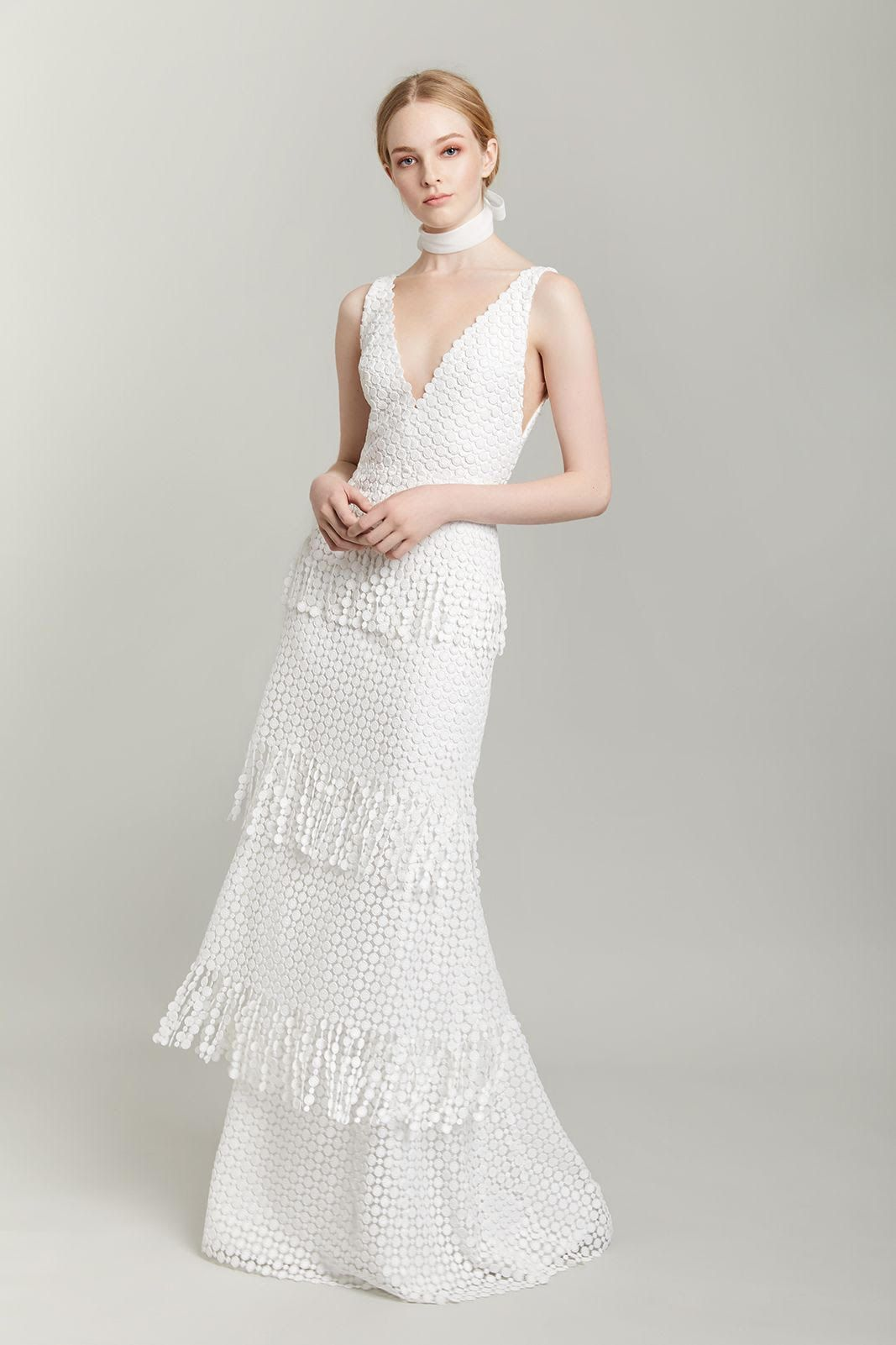 Classic With A Twist Wedding Dress Wedding Gown With Fringe Embroidered Fabric V Neck Neckl Wedding Dresses Unique Minimal Wedding Dress Lovely Wedding Dress [ 1601 x 1067 Pixel ]