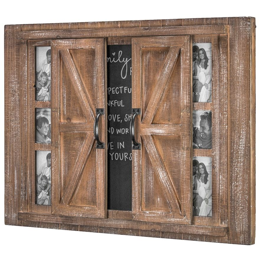 Crystal Art Gallery Barn Door 6 Opening Frame Amp Chalkboard Wall Decor Brown In 2020 Framed