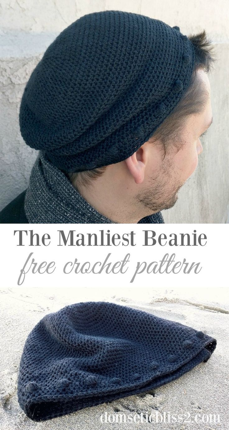 Manliest Beanie, free crochet pattern by Domestic Bliss Squared ...