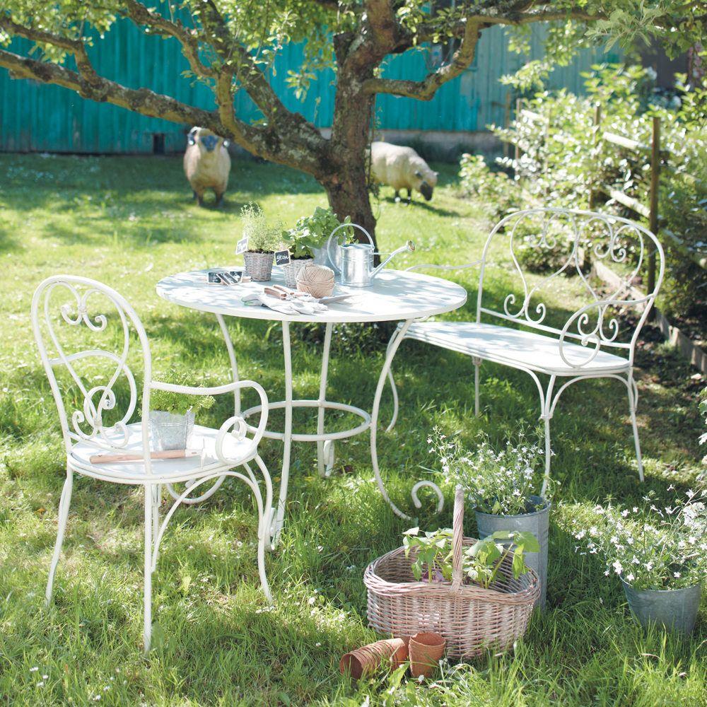 Sillón de jardín de hierro forjado marfil | Muebles para jardin, Mis ...