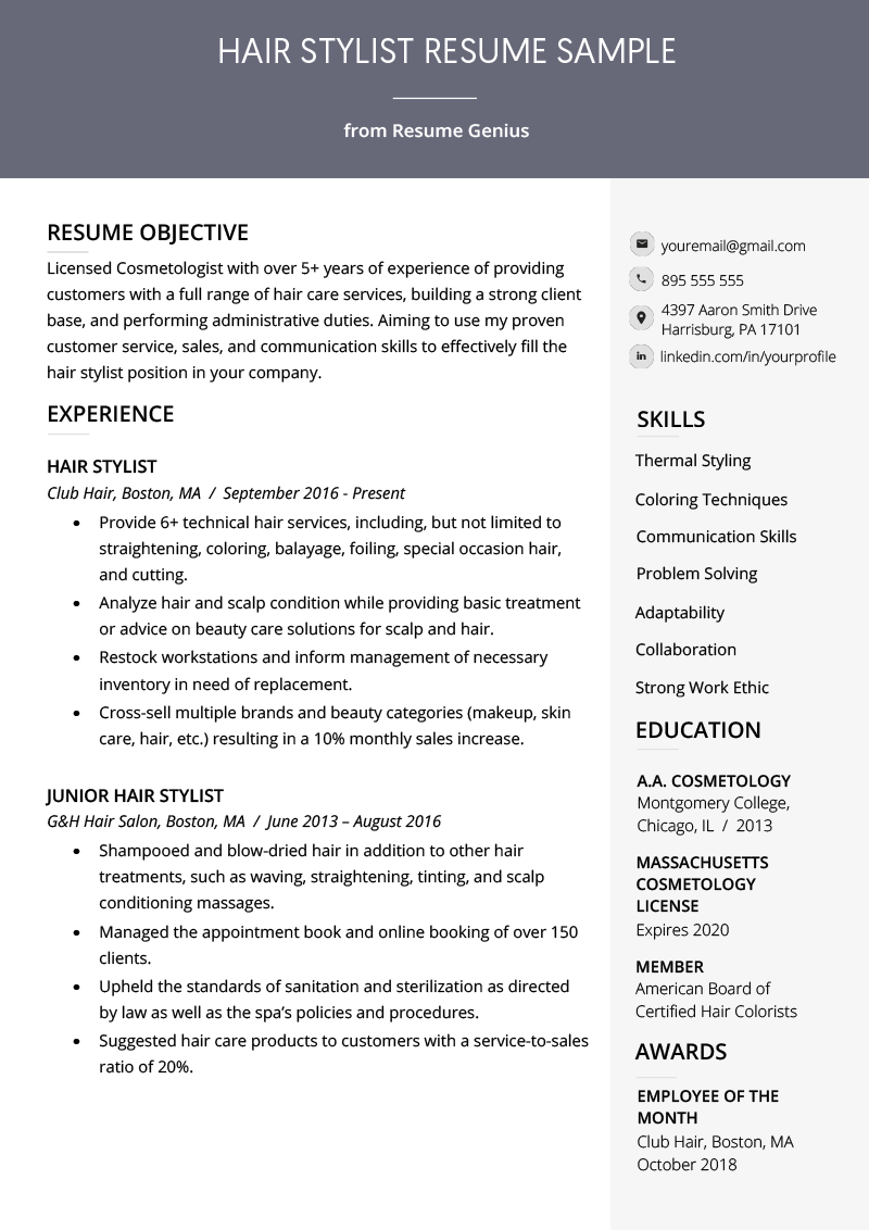 Hair Stylist Resume Sample & Writing Guide Chef resume