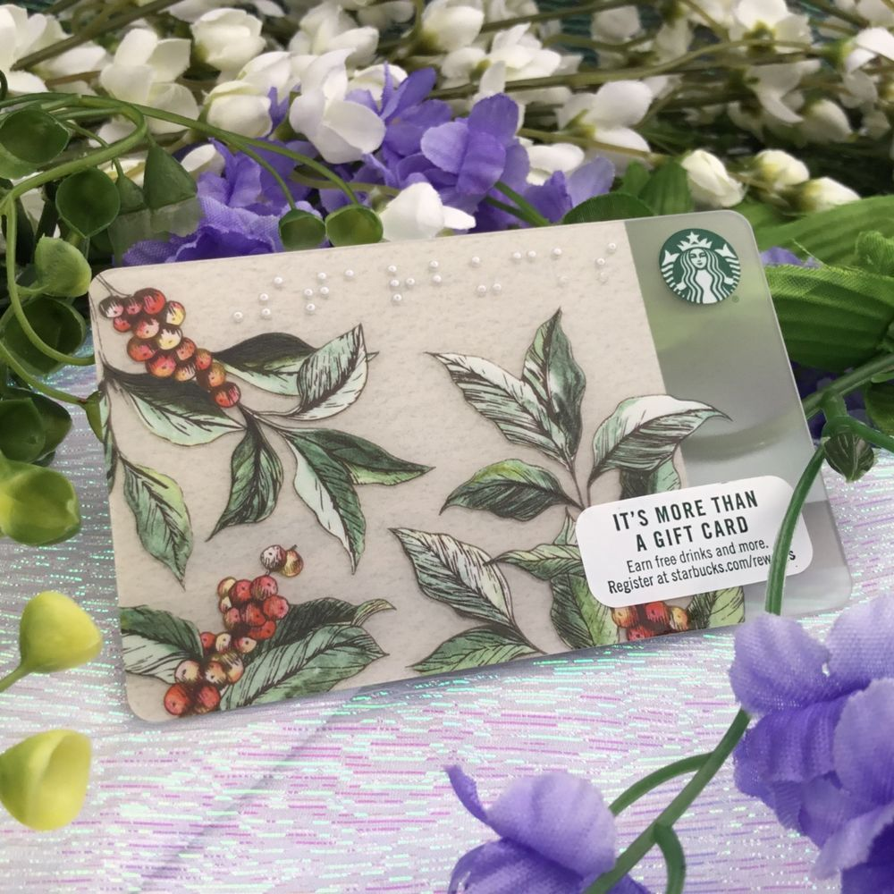 Starbucks Coffee Gift Card GARDEN BRAILLE Collector