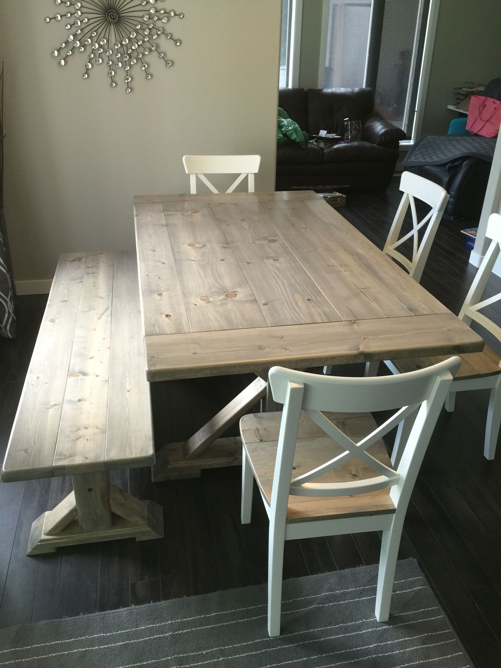 68 X38 Harvest Table With 4 Chairs And Matching Bench In A Grey