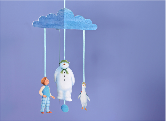 Free printable mobile template - Christmas craft tutorial with Snowman, boy & Snowdog