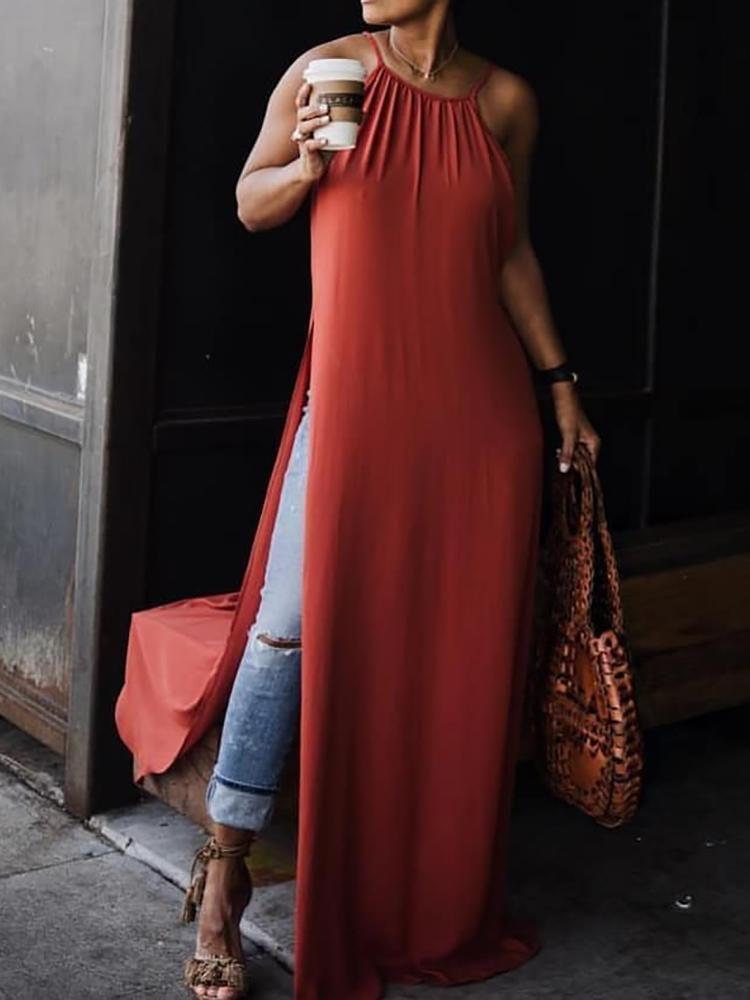 4084c0293d Solid Halter Side High Slit Loose Maxi Dress   casual dress in 2019 ...