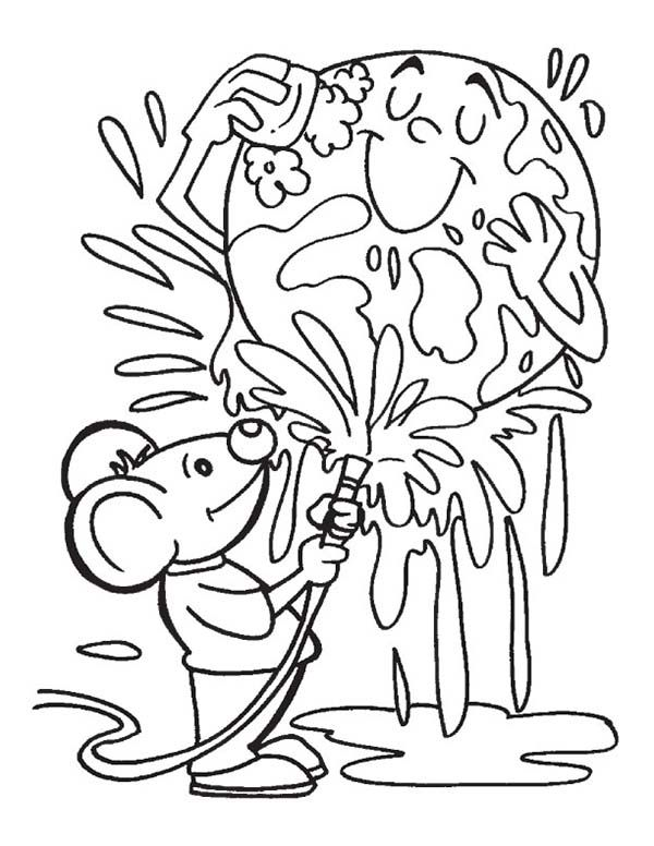 Earth Day Lets Cleaning Our On Coloring Page