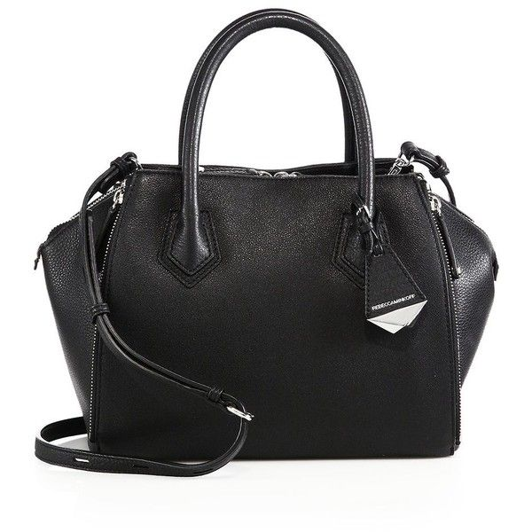 Rebecca Minkoff Mini Perry Leather Satchel ($415) ❤ liked on Polyvore featuring bags, handbags, apparel & accessories, black, genuine leather handbags, black leather satchel, leather purse, black leather handbags and black satchel purse