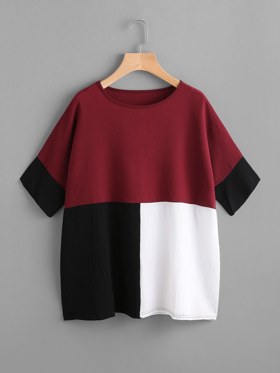f6c1176f4d Color Block Batwing Blouse -SheIn(Sheinside) | INSPIRATION in 2019 ...