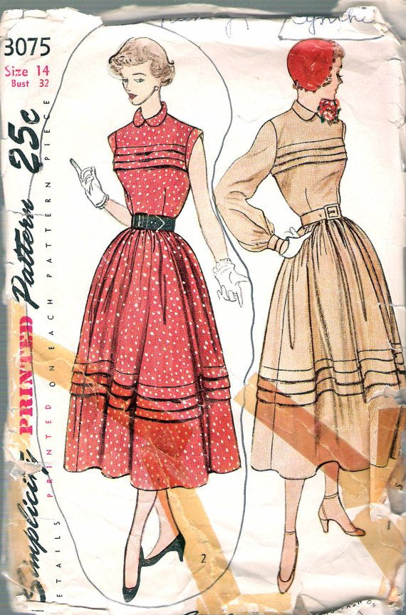 Vintage 1949 Simplicity 3075 One Piece Dress With Horizontal Tucked