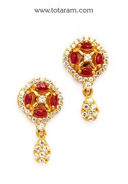 Gold Earrings for Women in 22K Gold with Cz Red Stones GER6239