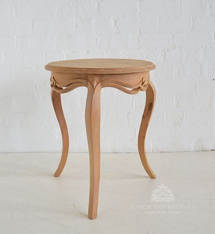Clic French Round Side Table Unfinished Raw Mahogany Wood