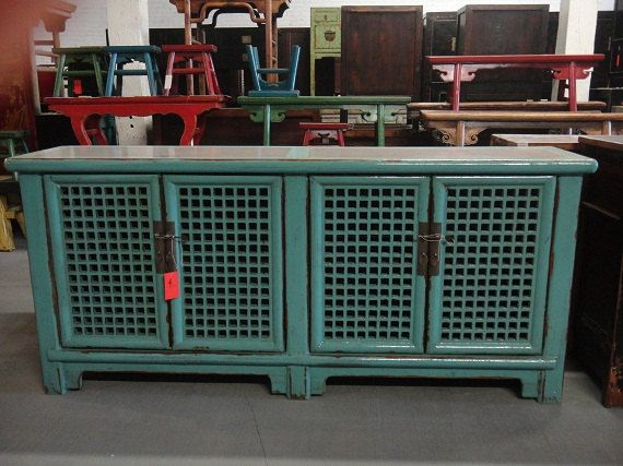 Asian Inspired Turquoise Blue Media Cabinet/Console Los Angeles By  Housecandyla, $2200.00