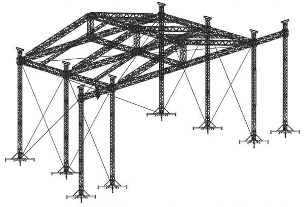 Aluminum Roof Truss Desin With Six Towers For Concert And Outdoor Events Roof Trusses Stage Lighting Aluminum Roof