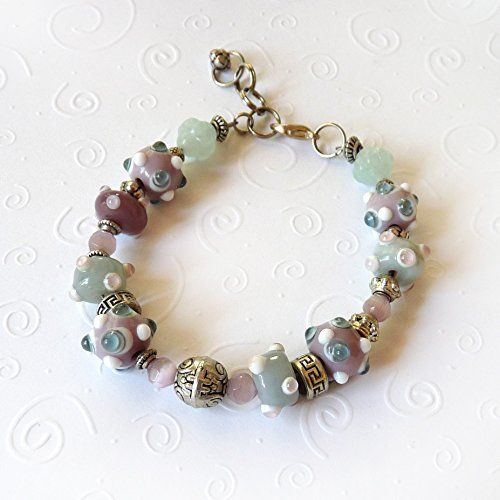 Pastel Mints Bracelet with Extender  Lavender Mint and Silver Lamp Worked Beads  Mixed Metals Pandora Style Handmade Beaded Clasp Bracelet  Great gift for women  Medium to Large I ** To view further for this item, visit the image link.Note:It is affiliate link to Amazon.