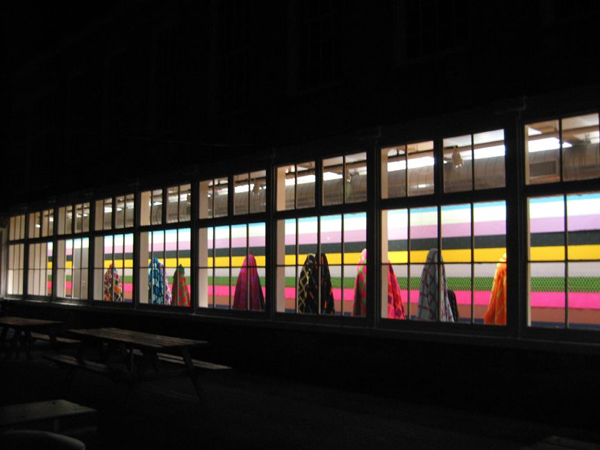 Fransje Killaars, Installation: Figures, Colors First, 2007, Massachusetts Museum of Contemporary Art, North Adams, MA (exterior view)