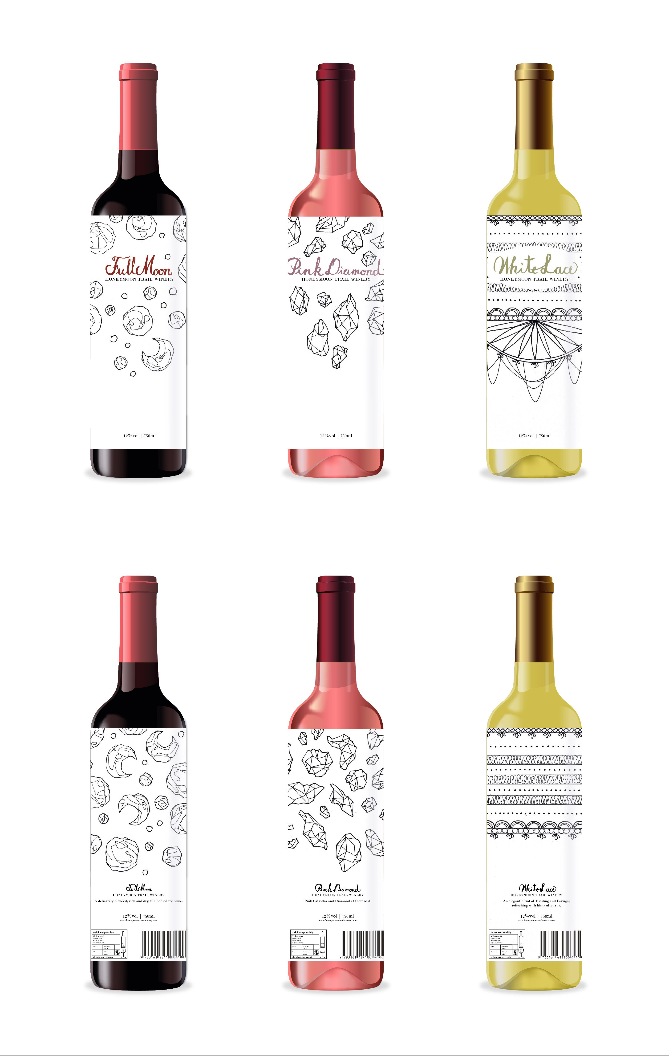 Packaging, Wine, Black and White, Layout, White, Red, Rose