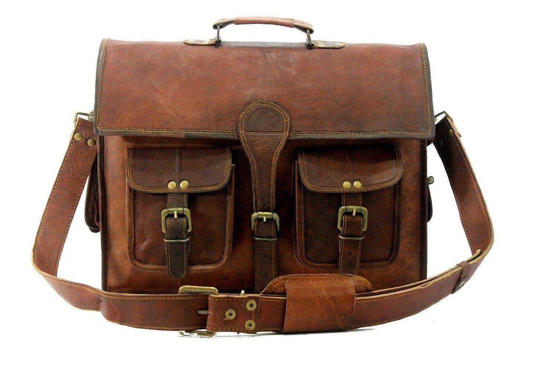 """15/"""" Handmade Leather Latop Breifcase Messenger Bag For Men Women"""
