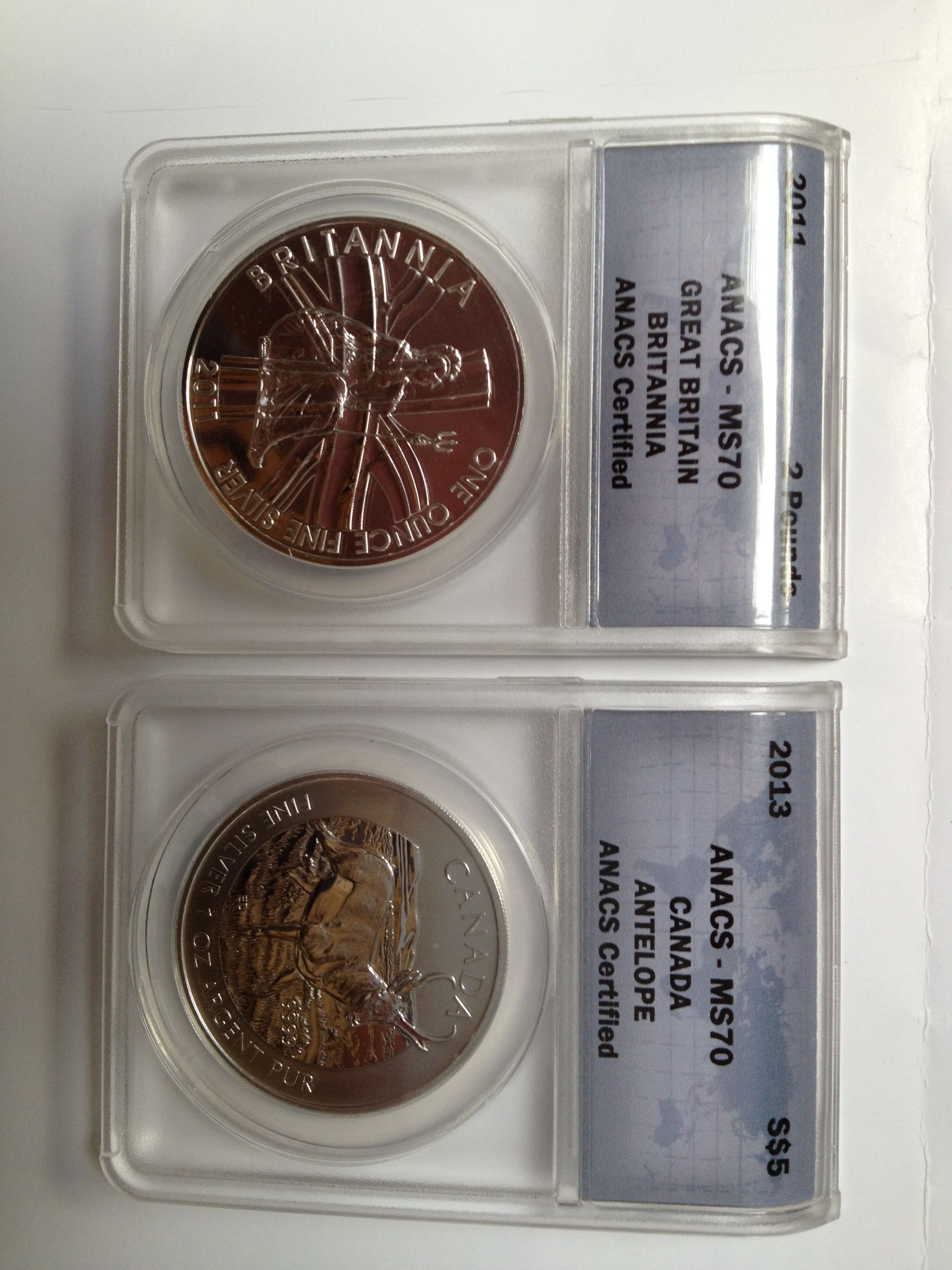 MS70 Graded pure silver coins from Numis