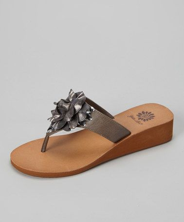 1cf803264ead Take a look at this Gray Hibiscus Wedge Sandal - Women by Yellow Box Shoes  on  zulily today!