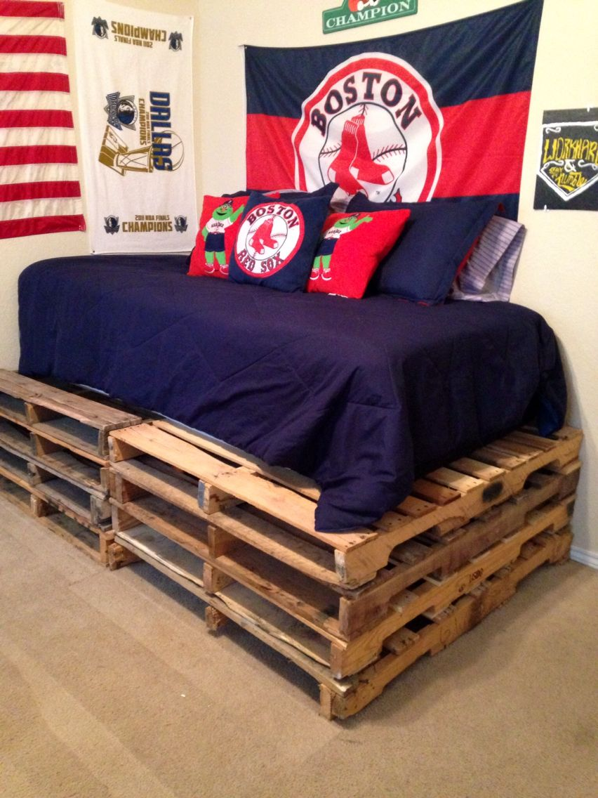 Pallet bed for teenage boys room. Boston Red Sox inspired ... on Pallet Bed Room  id=53906