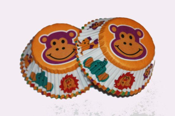 24 Wilton Monkey Lion Giraffe Elephant Cupcake Liners Cupcake Papers Baking Cups Girl Birthday Party Supplies Baby Shower 1st Birthday