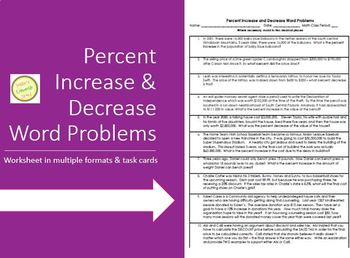 Percent Increase And Decrease Word Problems Worksheet Task Cards