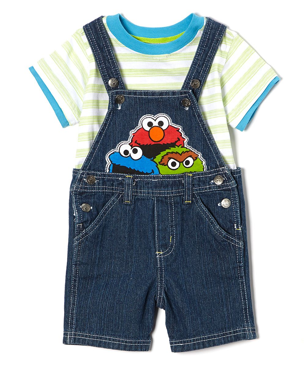 Childrens Apparel Network Green Stripe Sesame Street Tee Shortalls