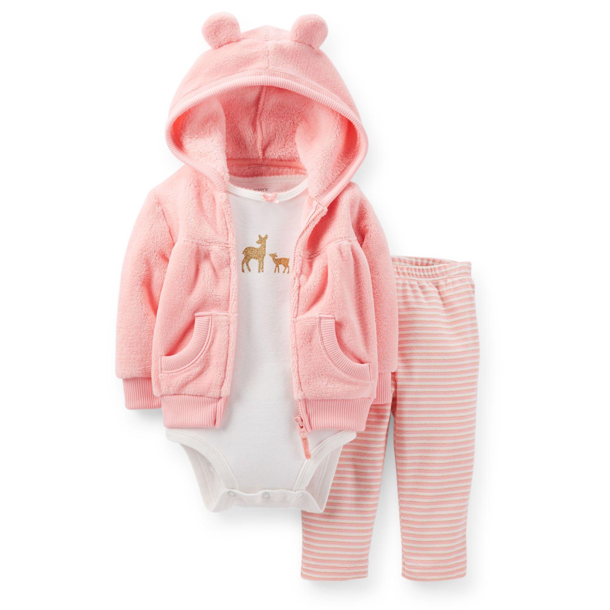 8fc0eda74 3-Piece Velboa Hooded Cardigan Set