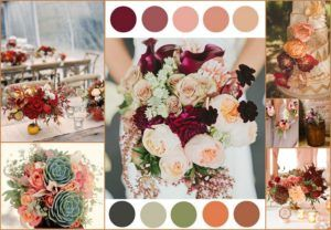 Rose, grey, burgundy, orange and peach Wedding Color - 123WeddingCards