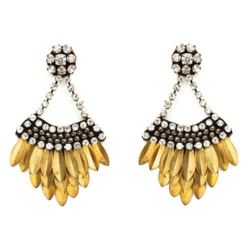 Deepa Gurnani Fashion Jewellery Enamelled Brass and Drop Tassel Statement Earrings MLcPHIO5X