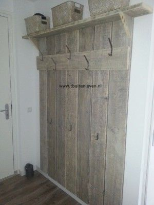 Steigerhouten kapstok home pinterest jassen - Muur decoratie slaapkamer ...