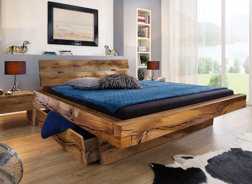 SAM® Massivholzbett Fichte eiche Bettkästen 140 200 x