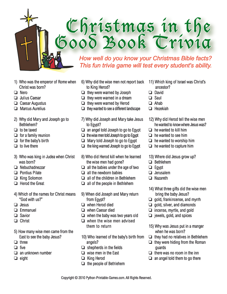 Christmas Bible Trivia.Bible Worksheets Receive Your Games Sent By Email Print An