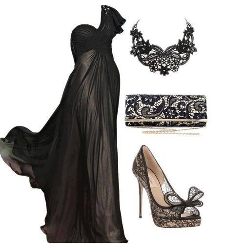 Elegant Black one shoulder gown.