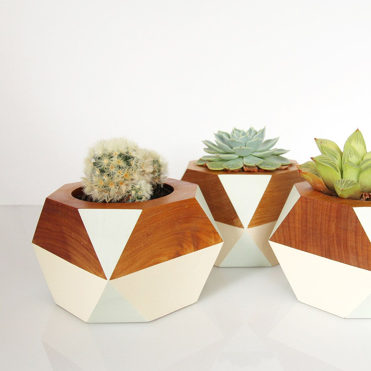 Geometric Wooden Pot — Pale Green by GwynethHulseDesign on Etsy https://www.etsy.com/listing/170305503/geometric-wooden-pot-pale-green