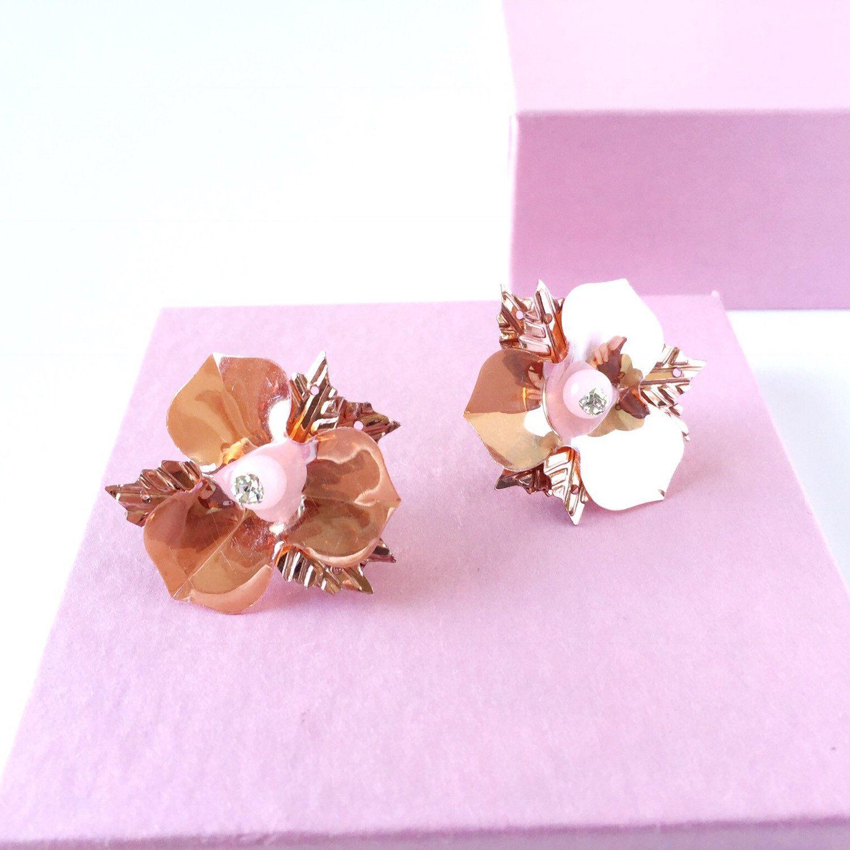 Rose Gold Flower Studs From Www Audaurie Etsy Com Rosegold Flowerstuds Sequin Florals Ballet Rose Gold Earrings Studs Flower Earrings Studs Flower Studs