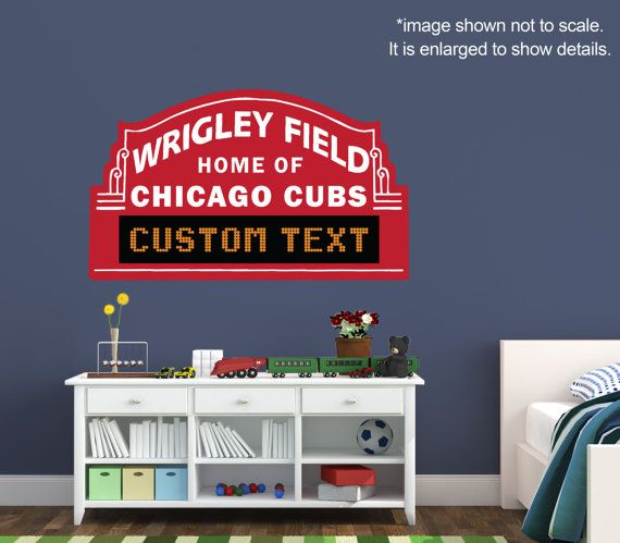 Chicago Cubs Custom Marquee   Vinyl Wall Decal Room Decor Personalized Wrigley  Field Sign Baseball Part 51