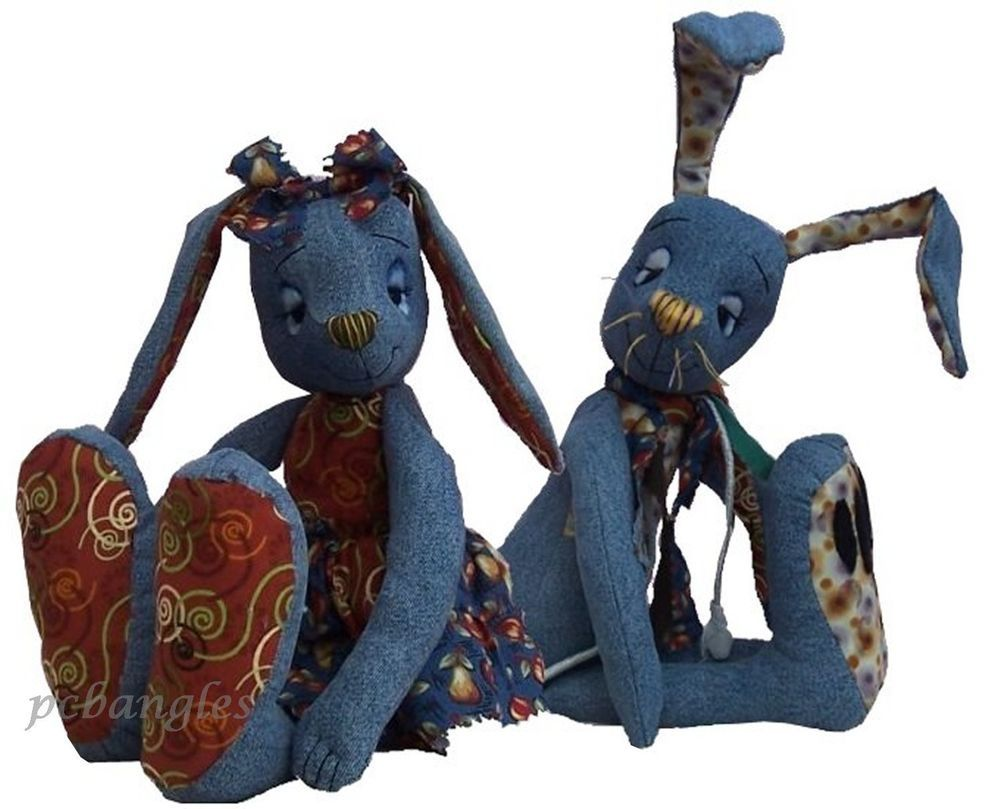 Rabbit sewing pattern  Raggedy rabbits ready to recycle your denims by pcbangles