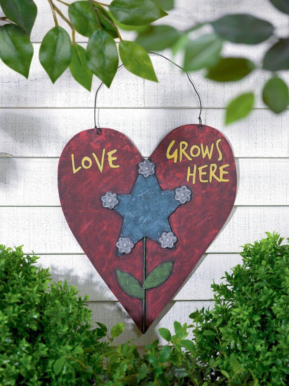 Metal Heart Plaque PLaque GardenDecore GrasslandsRoad