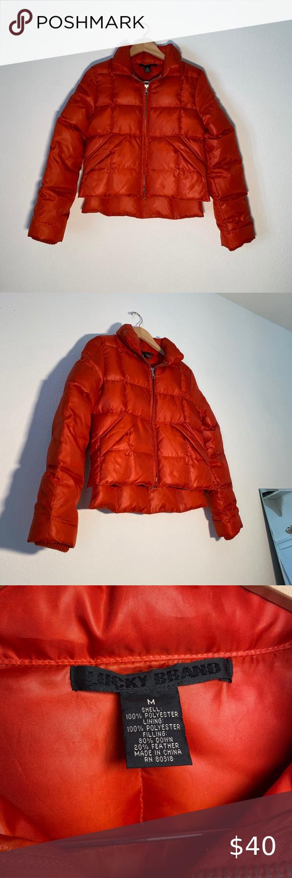 Lucky Brand Red Orange Crop Puffer Coat M Puffer Coat Red Puffer Jacket Lucky Brand [ 1740 x 580 Pixel ]