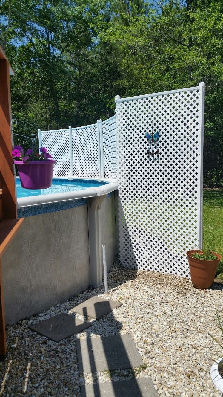My Privacy Pool Fence Made With Lattice And Pvc Pipe So Easy