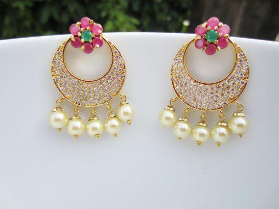 Ruby Emerald CZ and Pearl Chandbali Chaandbalis Indian by Alankaar
